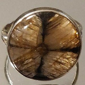 Jewelry - Natural Chiastolite Cross Stone Ring